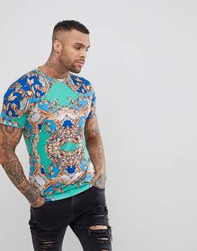 Jaded London T-Shirt In Blue With Baroque Print
