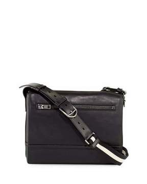 Bally Tamrac Men's Leather Messenger Bag, Black