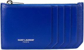 Saint Laurent zipped monogram cardholder - BLUE - STYLE