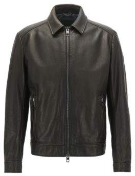 BOSS Hugo Leather Jacket Juba 32R Dark Brown