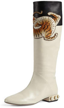 Gucci Pam Tiger-Embroidered Tall Boot