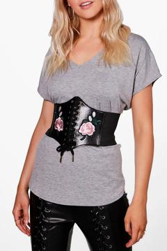 boohoo Jessie Embroidered PU Lace Up Corset Belt