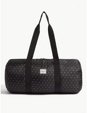 Herschel Black and Gridlock Gold Woven Packable Ripstop Duffle Bag