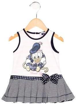 MonnaLisa Girls' Donald Duck Striped Dress