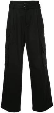 Juun.J wide leg belted trousers