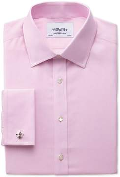 Charles Tyrwhitt Extra Slim Fit Non-Iron Twill Pink Cotton Dress Shirt French Cuff Size 14.5/33