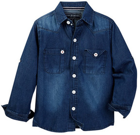Toobydoo Lucky Luke Denim Dress Shirt (Toddler & Little Boys)