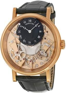 Breguet Tradition Black and Champagne Skeleton Dial 18kt Rose Gold Black Leather Men's Watch 7057BRR99W6