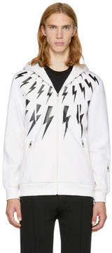 Neil Barrett Off-White and Black Fairisle Thunderbolt Zip Hoodie