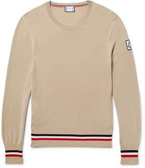 Moncler Gamme Bleu Striped Cashmere And Silk-Blend Sweater