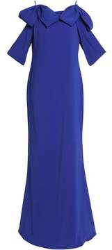 Badgley Mischka Cold-Shoulder Bow-Embellished Crepe Gown