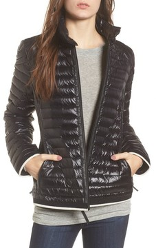 Andrew Marc Women's Stripe Trim Packable Down Jacket
