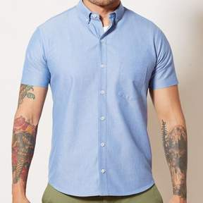 Blade + Blue Solid Blue Chambray Short Sleeve Shirt - ELBERT