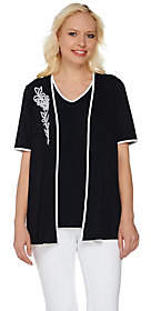 Bob Mackie Bob Mackie's Embroidered Open Front Cardiganand Tank Set