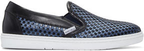 Jimmy Choo Blue Satin Star Grove Slip-On Sneakers