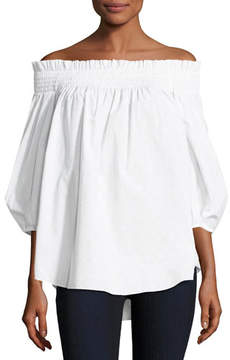 Caroline Constas Lou Off-the-Shoulder Dotted Poplin Top