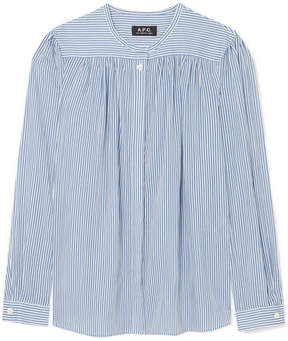 A.P.C. Serena Striped Cotton-poplin Shirt - Blue