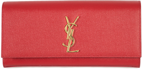 Saint Laurent Red Kate Textured Leather Clutch - RED - STYLE