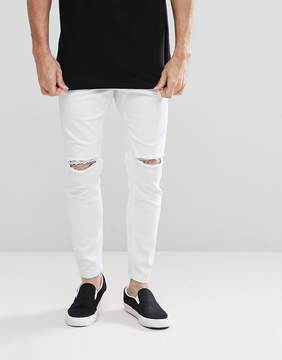 Pull&Bear Carrot Fit Jeans With Rips In White