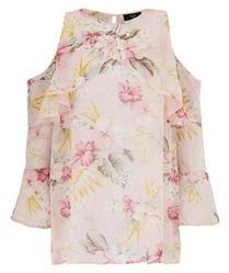AX Paris Cold Shoulder Floral Ruffle Blouse