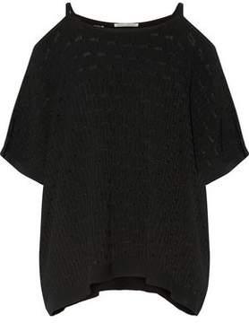 Autumn Cashmere Cold-Shoulder Jacquard Pointelle-Knit Top