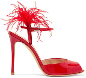Gianvito Rossi 100 Feather-trimmed Patent-leather Sandals - Red