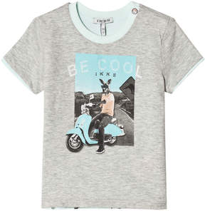 Ikks Grey Biker Print Reversible into Green Kangaroo Print T-Shirt