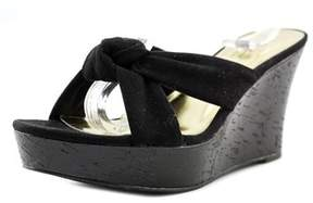 Thalia Sodi Alyssa Women Open Toe Canvas Black Wedge Sandal.
