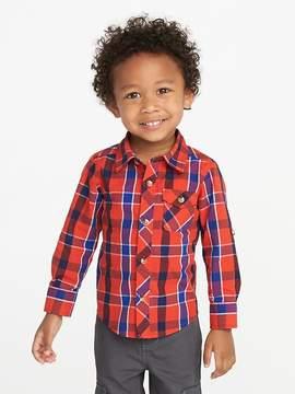 Old Navy Plaid Poplin Roll-Sleeve Shirt for Toddler Boys