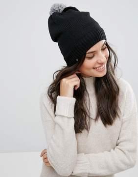 Plush Fleece Lined Pom Pom Beanie in Black with Heather Gray Pom