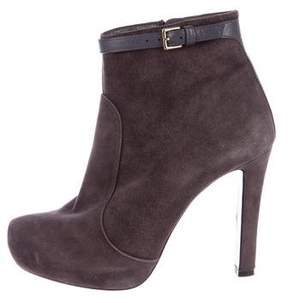 Max Mara Suede Round-Toe Booties