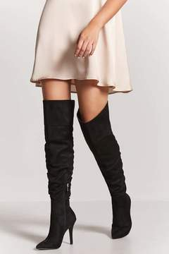 Forever 21 Ruched Faux Suede Thigh-High Boots