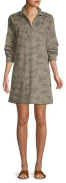 ATM Anthony Thomas Melillo Long Sleeve Cotton Camo Shirtdress