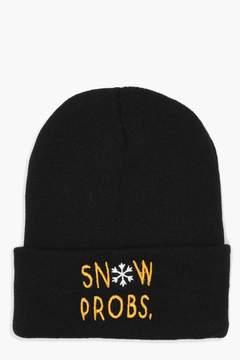 boohoo Christmas Snow Probs Slogan Beanie