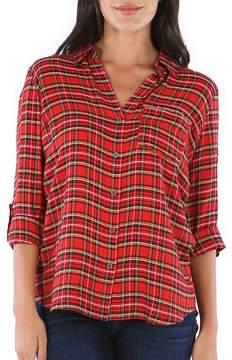 Red Carine Plaid Button-Up Shirt