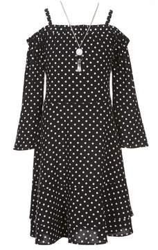 I.N. Girl Big Girls 7-16 Dotted Cold-Shoulder Dress