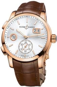 Ulysse Nardin Dual Time Silver Dial 18kt Rose Gold Men's Watch 3346-126-91