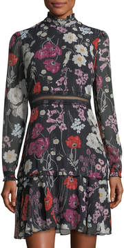 Donna Morgan Floral Chiffon Mock-Neck Dress