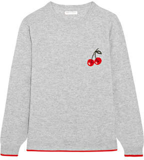 Chinti and Parker Cherry Cashmere Sweater - Light gray