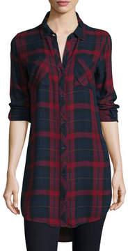 Go Silk Button-Front Plaid Boyfriend Long Shirt, Red/Multi, Petite