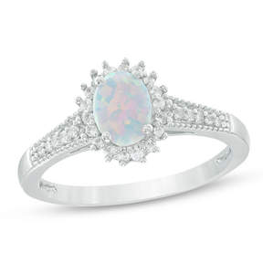 Zales Oval Lab-Created Opal and White Sapphire Starburst Ring in Sterling Silver