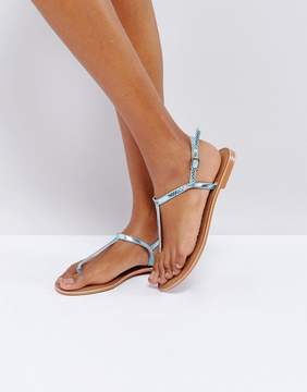 Glamorous Leather Toe Post Flat Sandal