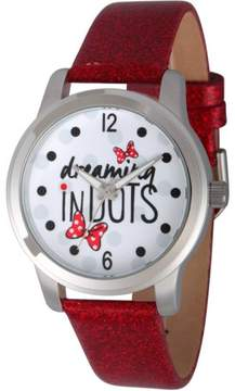 Disney Disney, Minnie Mouse Dreaming in Dots Women's Silver Alloy Watch, Red Sequin Strap