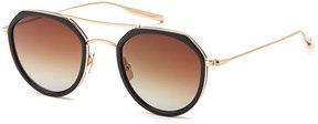 Salt Acetate & Titanium Round Polarized Sunglasses, Black/Gold
