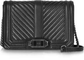 Rebecca Minkoff Black Chevron Quilted Leather Small Love Crossbody Bag