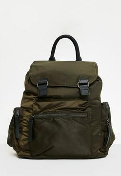 Khaki 3 Pocket Nylon Backpack