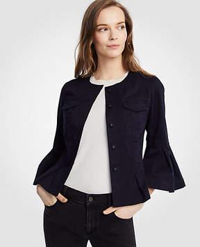 Ann Taylor Twill Flounce Sleeve Jacket