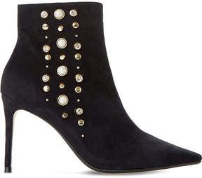 Dune Ladies Black Cropped Onyxx Embellished Suede Ankle Boots