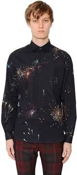 Fireworks Print Slim Cotton Poplin Shirt