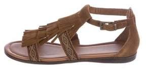 Minnetonka Suede Kiltie Sandals